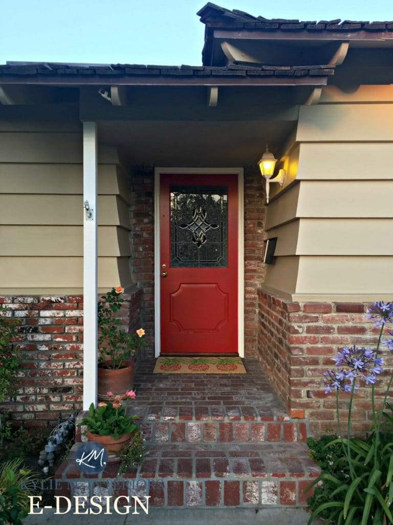 Exterior, front door paint colour consultation with Kylie M Interiors E-design and online color consulting. Sherwin Williams Chinese Red with red orange brick, beige painted wood siding