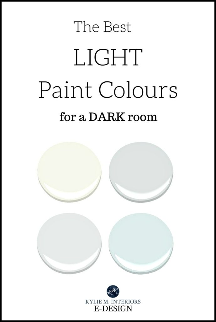 The best light paint colours for a dark room, basement, family room. Kylie M INteriors Edesign, online paint colour consulting, virtual designer