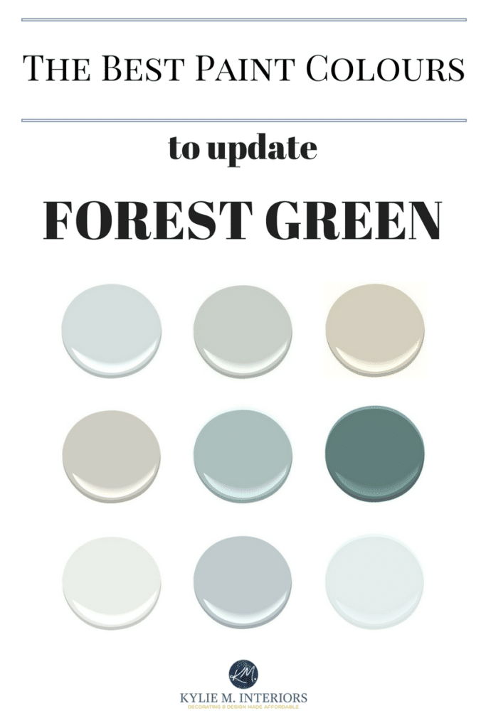The best paint colours and ideas to update forest green countertops, tile, carpet, bathrooms and more by Kylie M Interiors.jpg