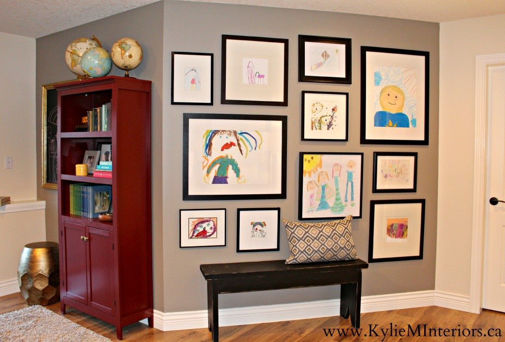 Shown on Sherwin Williams Pewter Tankard, ideas for how to create a kids art or artwork gallery wall in any room in your home using ikea frames