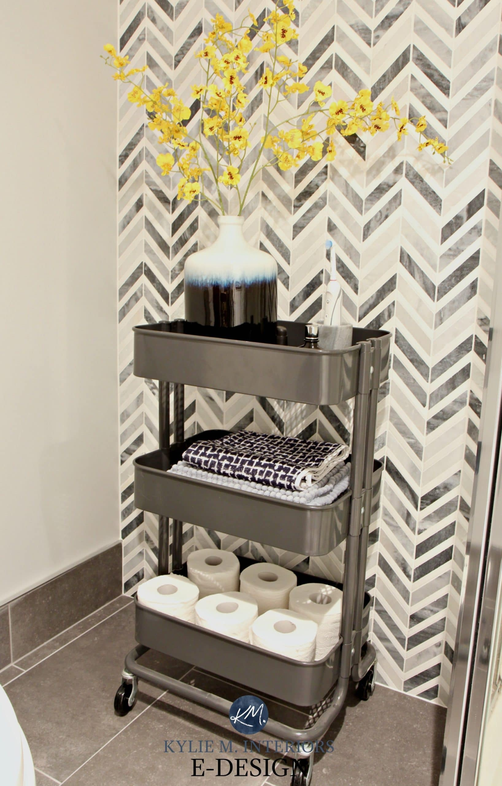 Small Bathroom Storage Idea, Ikea Raskog Cart. Chevron Marble Feature Tile  Wall. Kylie M E Design