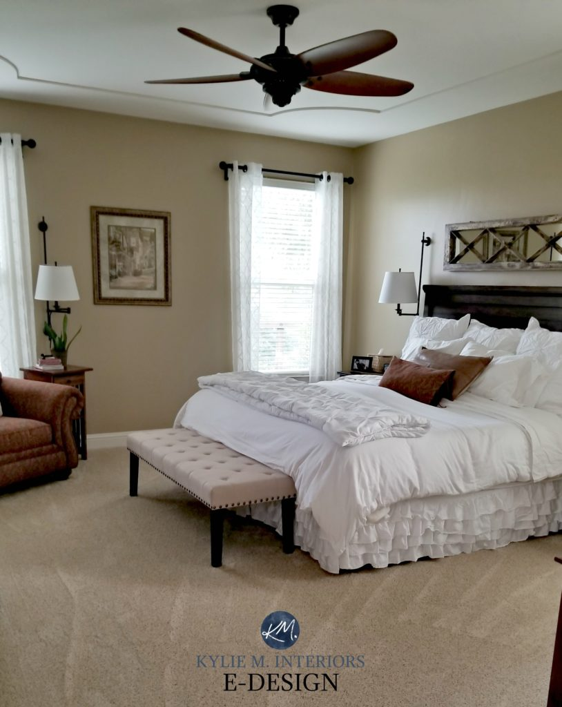 Beige paint color Benjamin Moore Lenox Tan, Kylie M INteriors E-design, paint color consulting. beige carpet
