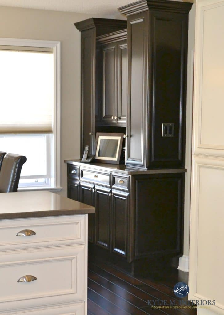 Benjamin Moore Grant Beige with cream and espresso cabinets and dark wood flooring. Kylie M Interiors E-design and online colour consultant