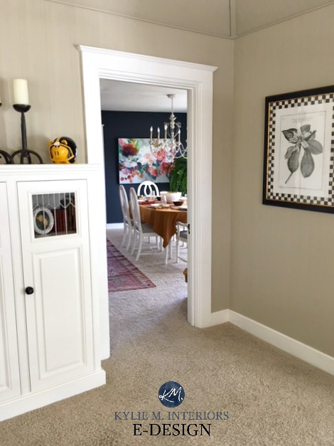 Benjamin Moore Hale Navy dining room, Bennington Gray, beige paint colour with neutral carpet. Kylie M INteriors E-design, online paint color consulting