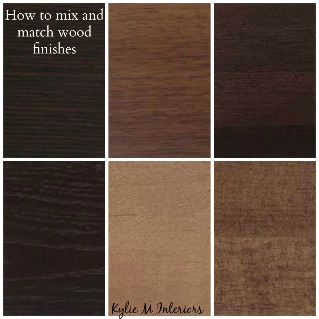 Ideas for how to mix match and coordinate wood finishes and stains like oak