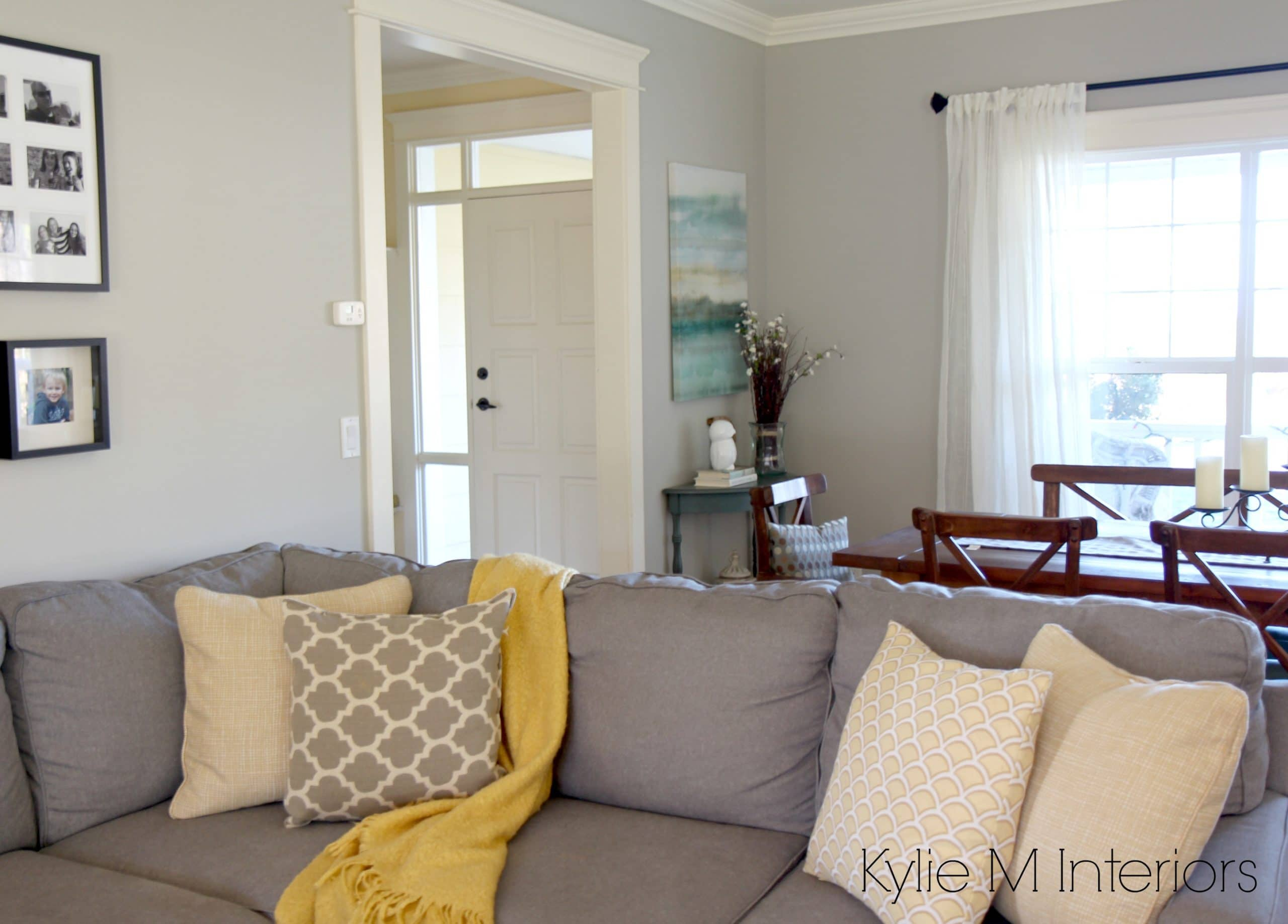 Benjamin Moore Revere Pewter With Cream Trim, Yellow And Gold And Teal  Accents And A Gray Sectional Couch In Living Room Part 51