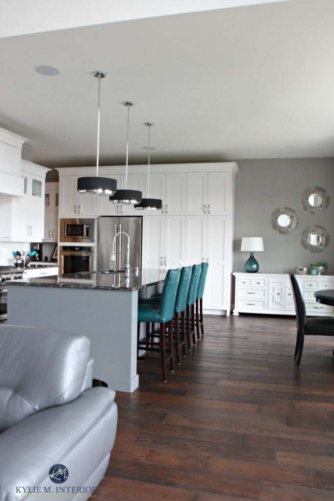 Open Layout White Kitch With Gray Painted Island Teal Accents Sherwin Williams Dorian