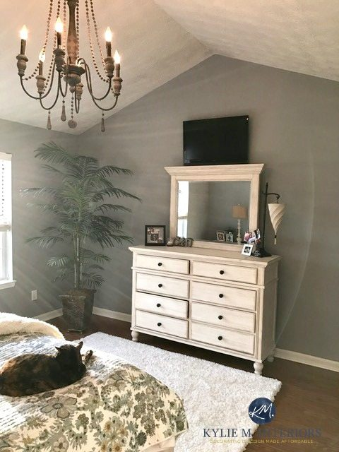 sherwin williams ellie gray in master bedroom with white furniture