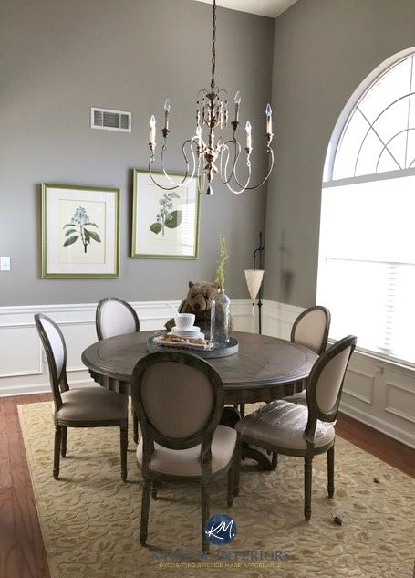 Sherwin Williams Pavestone in dining room white wainscoting, arched window and tall ceiling. Kylie M Interiors E-design and online Decorating and colour consulting