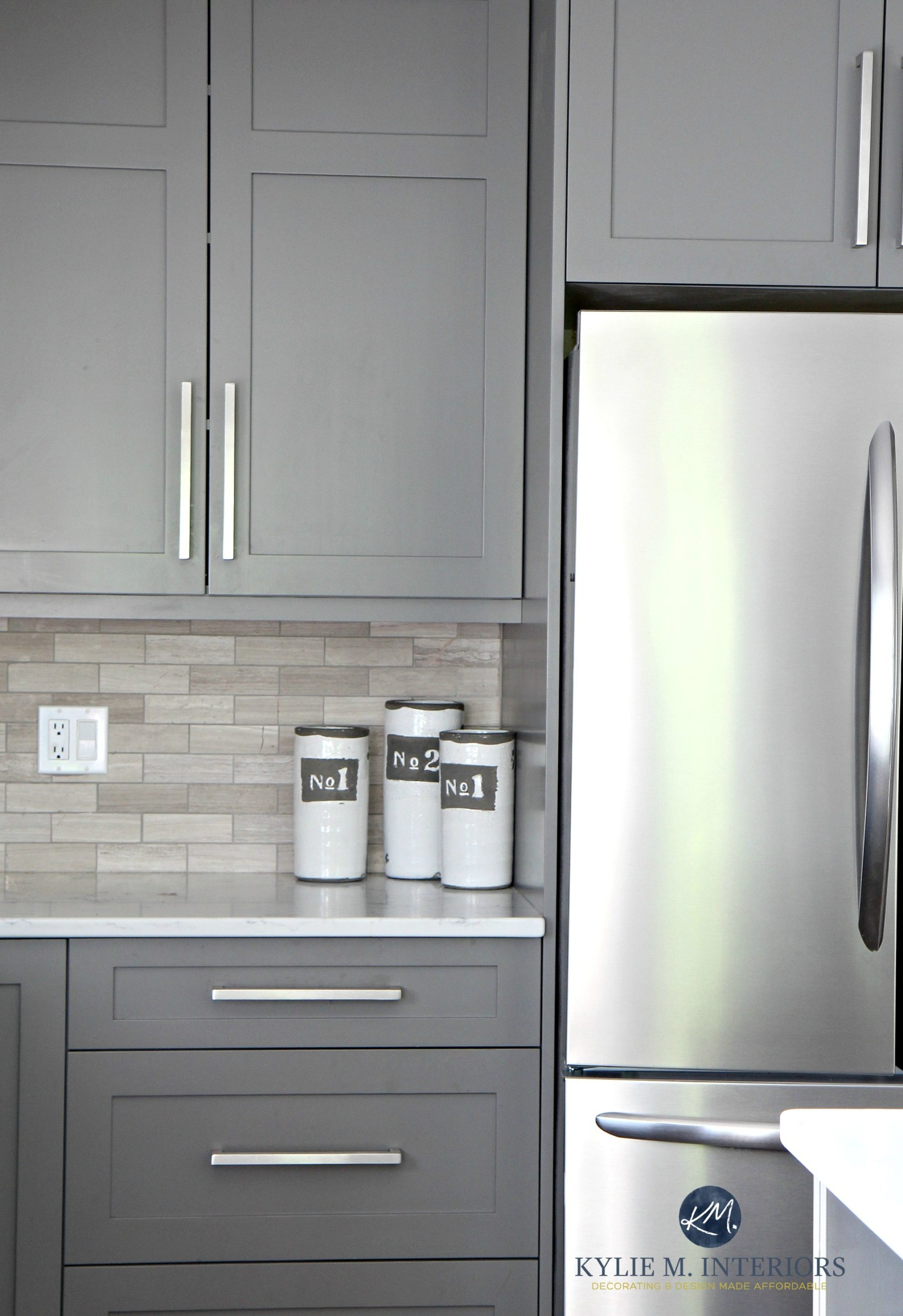 Benjamin Moore Amherst Gray Painted Cabinets, Driftwood Backspash In Subway  Tile Layout. Kylie M Interiors E Design