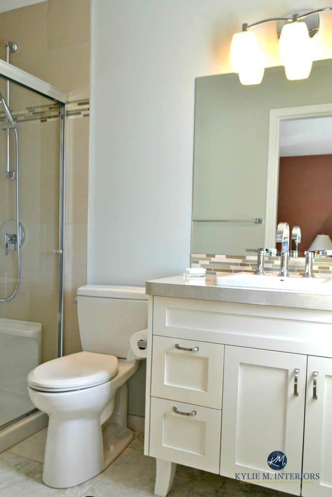 Benjamin Moore Gray Cashmere helps this small bathroom feel bigger and brighter. Best blue green paint colour. Kylie M E-design