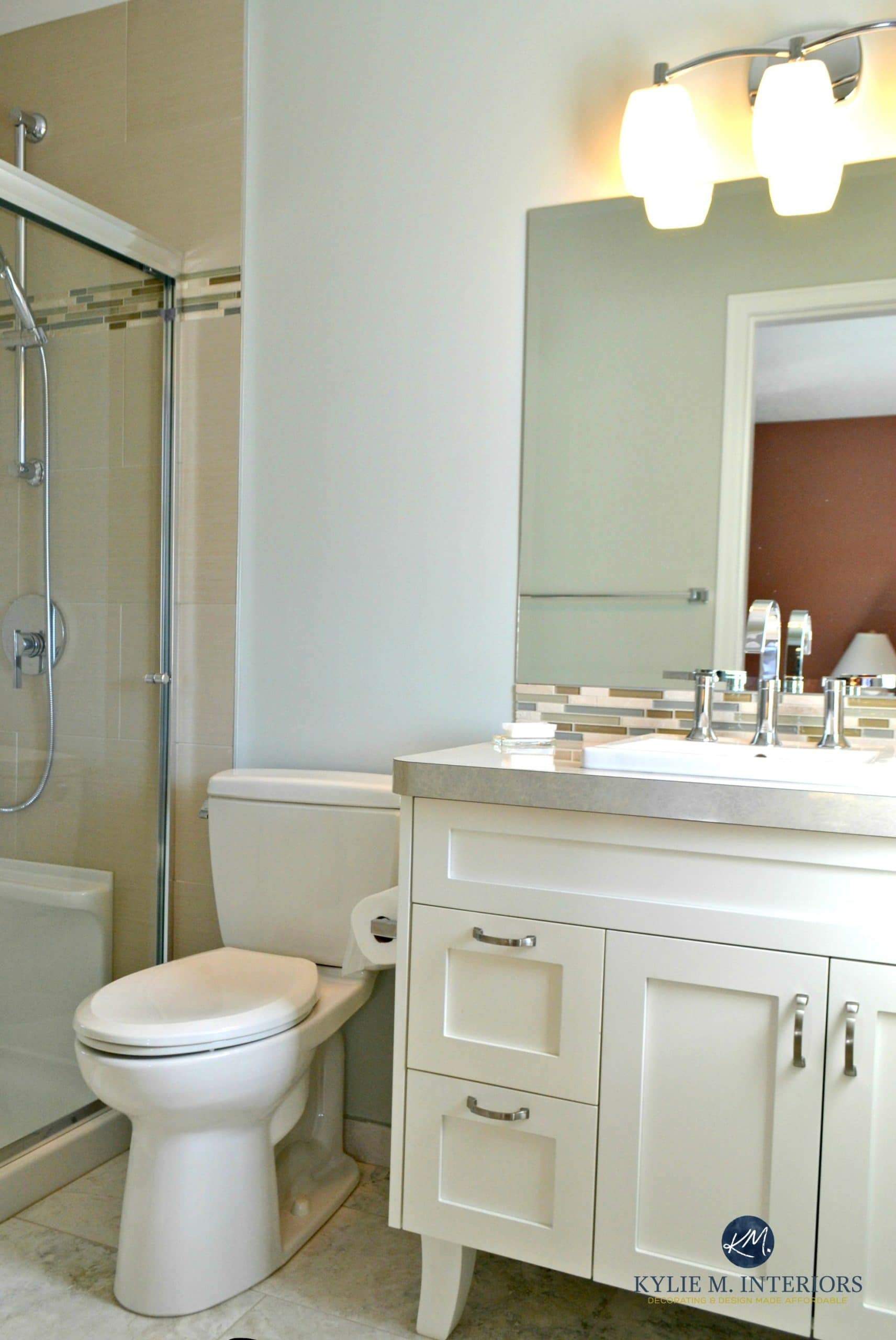 Benjamin moore gray cashmere helps this small bathroom - Best light gray paint color for bathroom ...