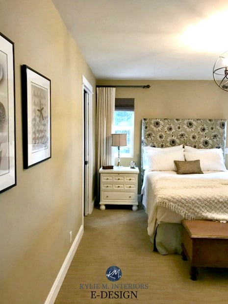 Benjamin Moore Monroe Bisque bedroom, warm neutral, beige paint colour. upholstered headboard. Kylie M Interiors E-design