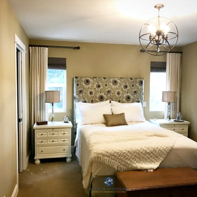 Benjamin Moore Monroe Bisque in guest bedroom, cream linens, side tables, upholstered headboard and lamps. Kylie M Interiors E-design and E-decor