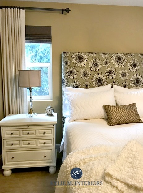 Benjamin Moore Monroe Bisque in guest bedroom with cream linens and side table. Kylie M Interiors E-design and Color Consulting