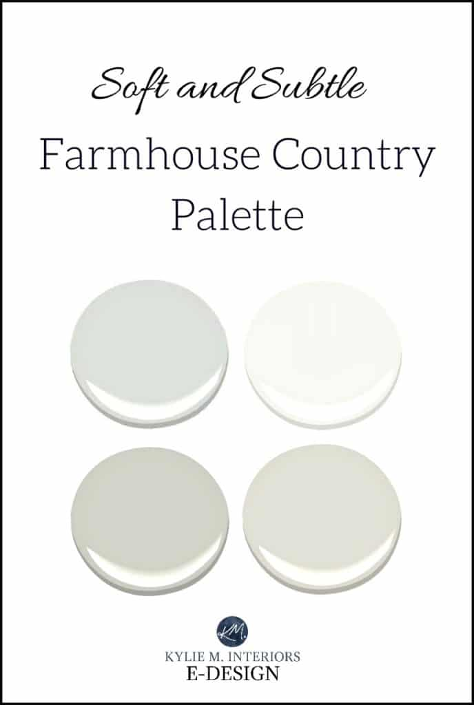 Farmhouse country paint colour palette, soft and subtle. Kylie M E-design