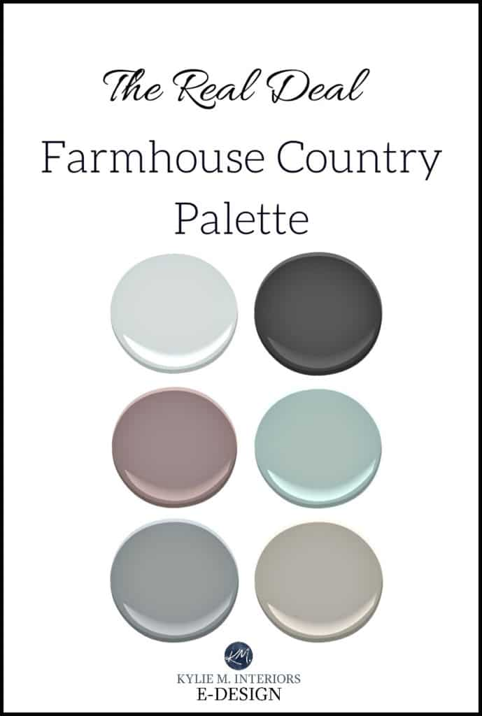 Romantic glam style farmhouse country paint colour palette. Kylie M E-design, online color consultant