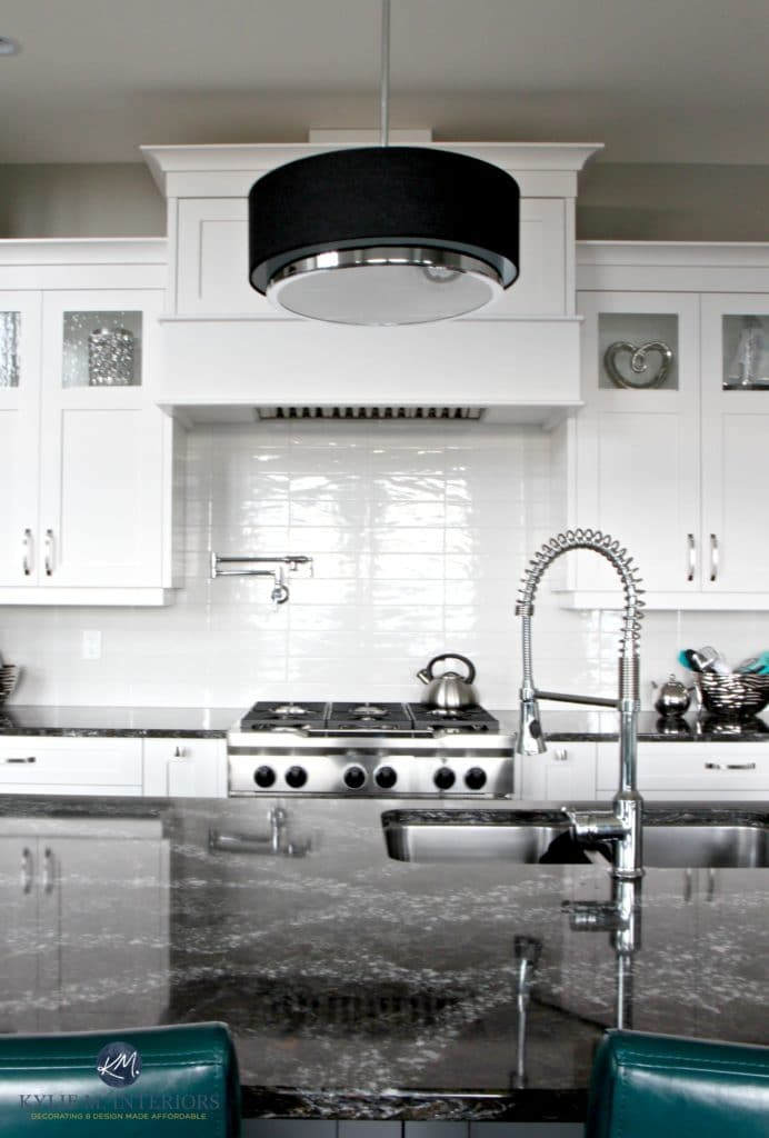 White Contemporary Kitchen With Cambria Ellesmere Countertop On Island.  Off White Subway Tile Backsplash