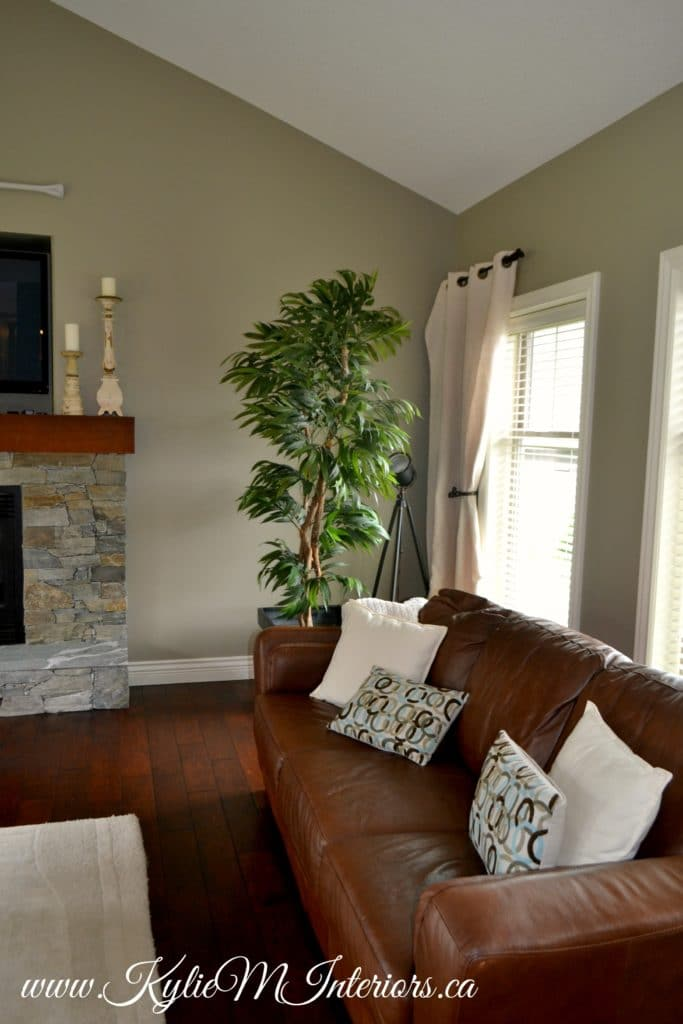 Living Room Benjamin Moore Gray Mirage With Slate Stone Fireplace And Dark Cherry Wood Floors