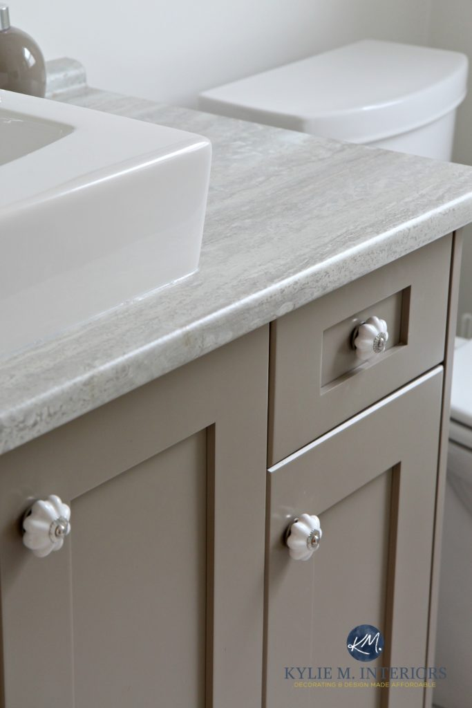 Bathroom Vanity With Travertine Silver Countertop Painted Benjamin Moore Kingsport Gray With
