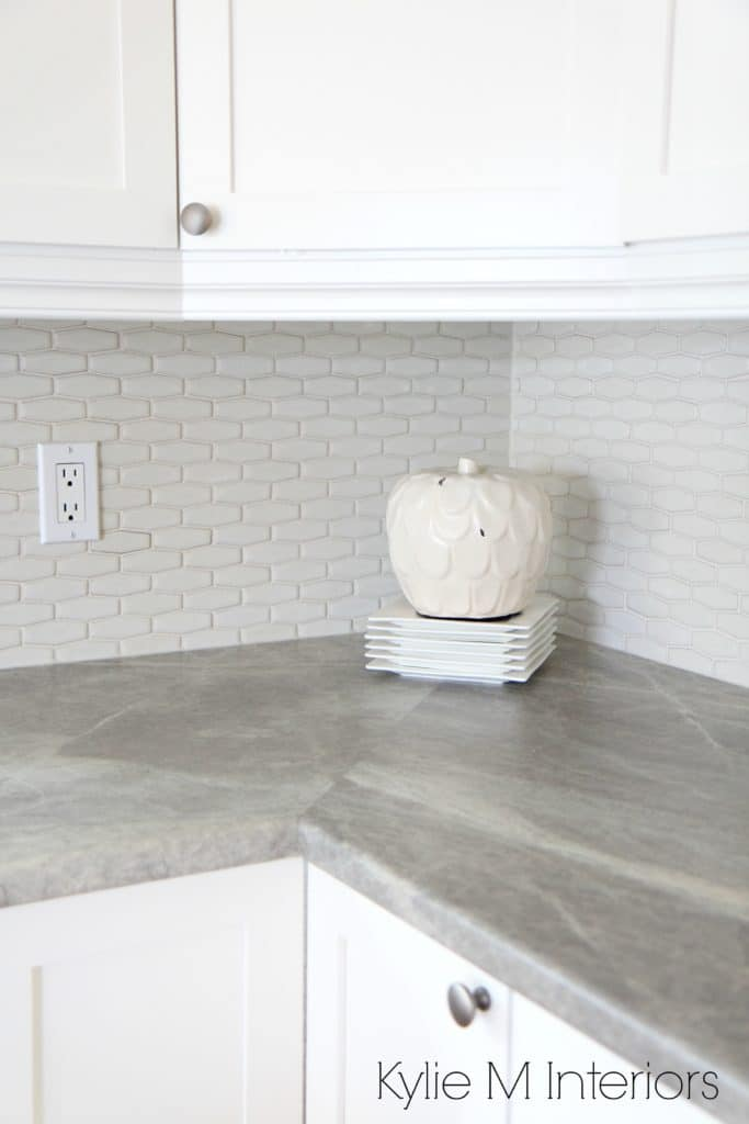 Hexagon shape subway tile backsplash, soapstone sequoia countertops by formica and maple shaker cabinets painted Cloud White