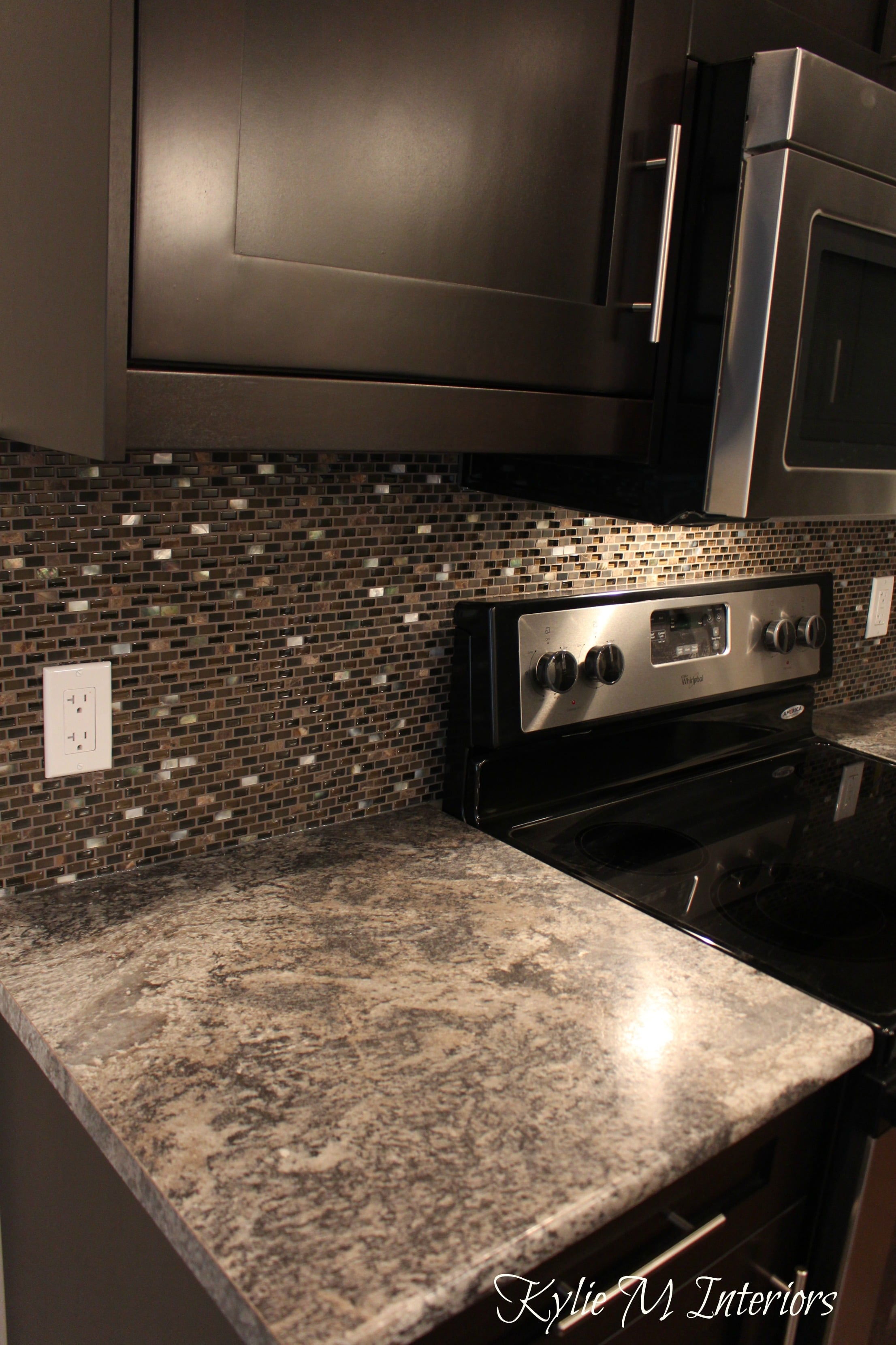 Harold Pionite Laminate Countertop Brown Mosaic Tile Backsplash And Espresso Dark Wood Cabinets
