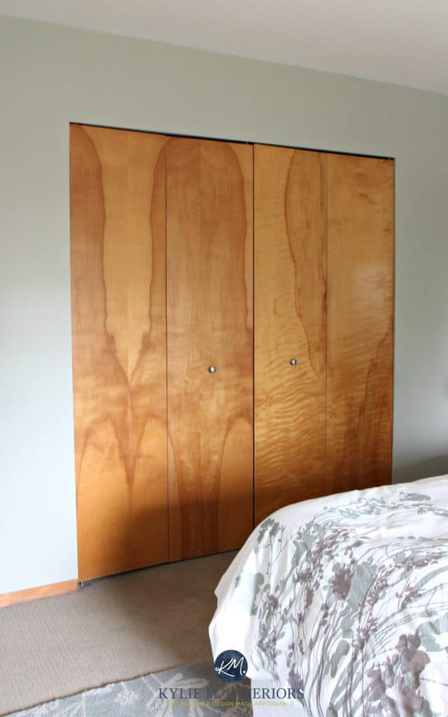 Benjamin Moore Mountain Air in bedroom with wood. Kylie M Interiors E-design (2)