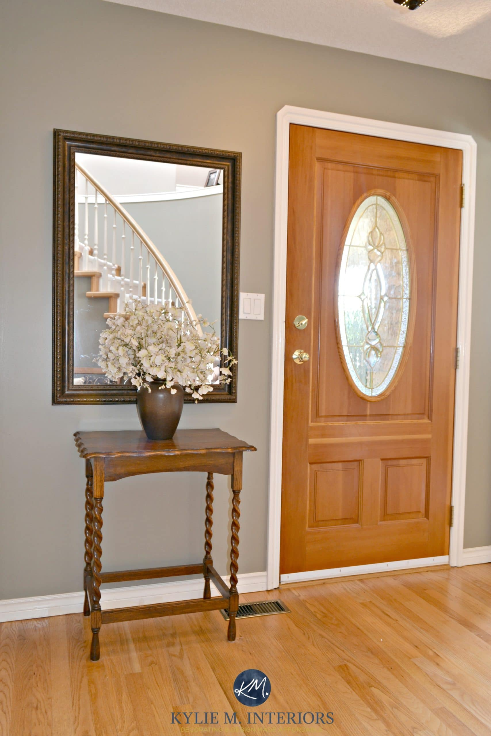 Benjamin Moore Sandy Hook Gray In Entryway With Orange Toned Oak Floor And  Fir Front Door. Best Paint Colours For Wood. Kylie M Interiors E Design And  ...