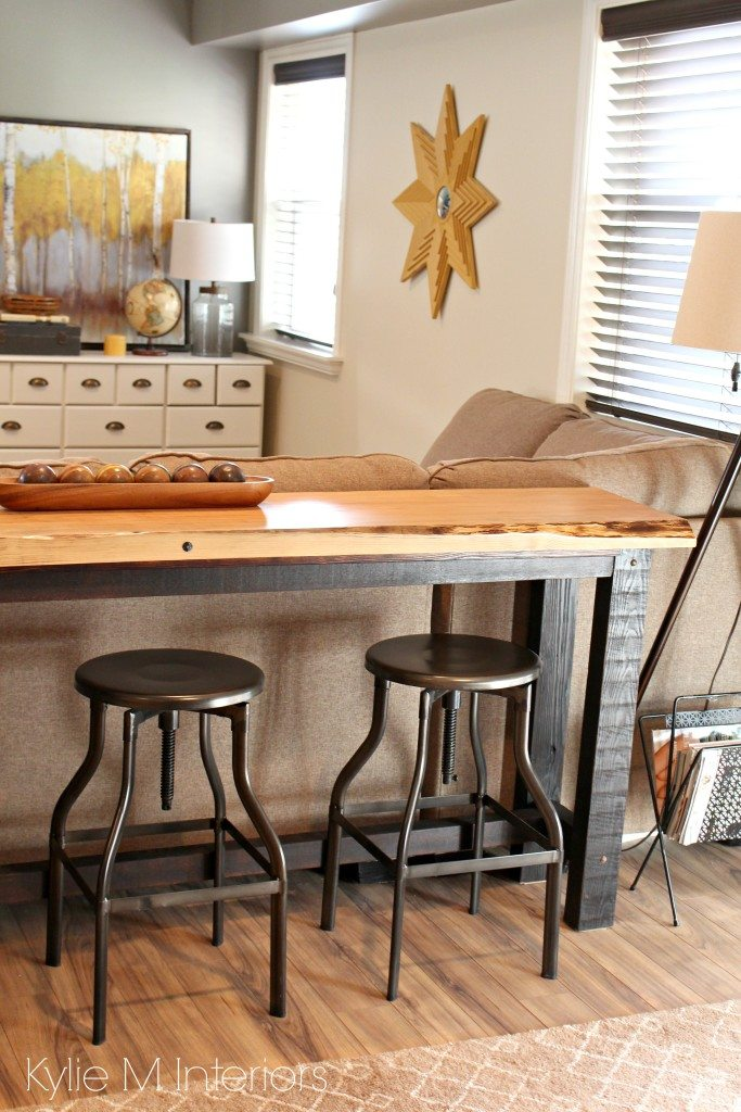 Console Table With Stools ~ Decorating idea for family or media room live edge wood