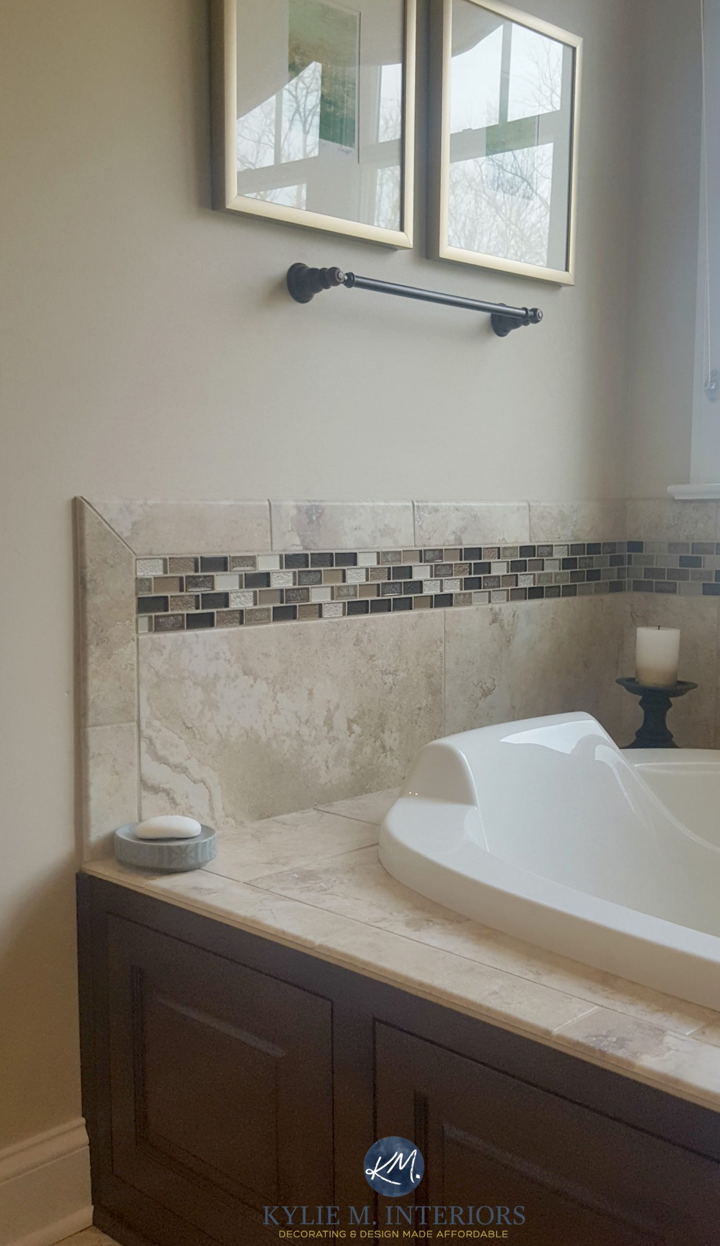 Sherwin Williams Kilim Beige in a bathroom with beige ...