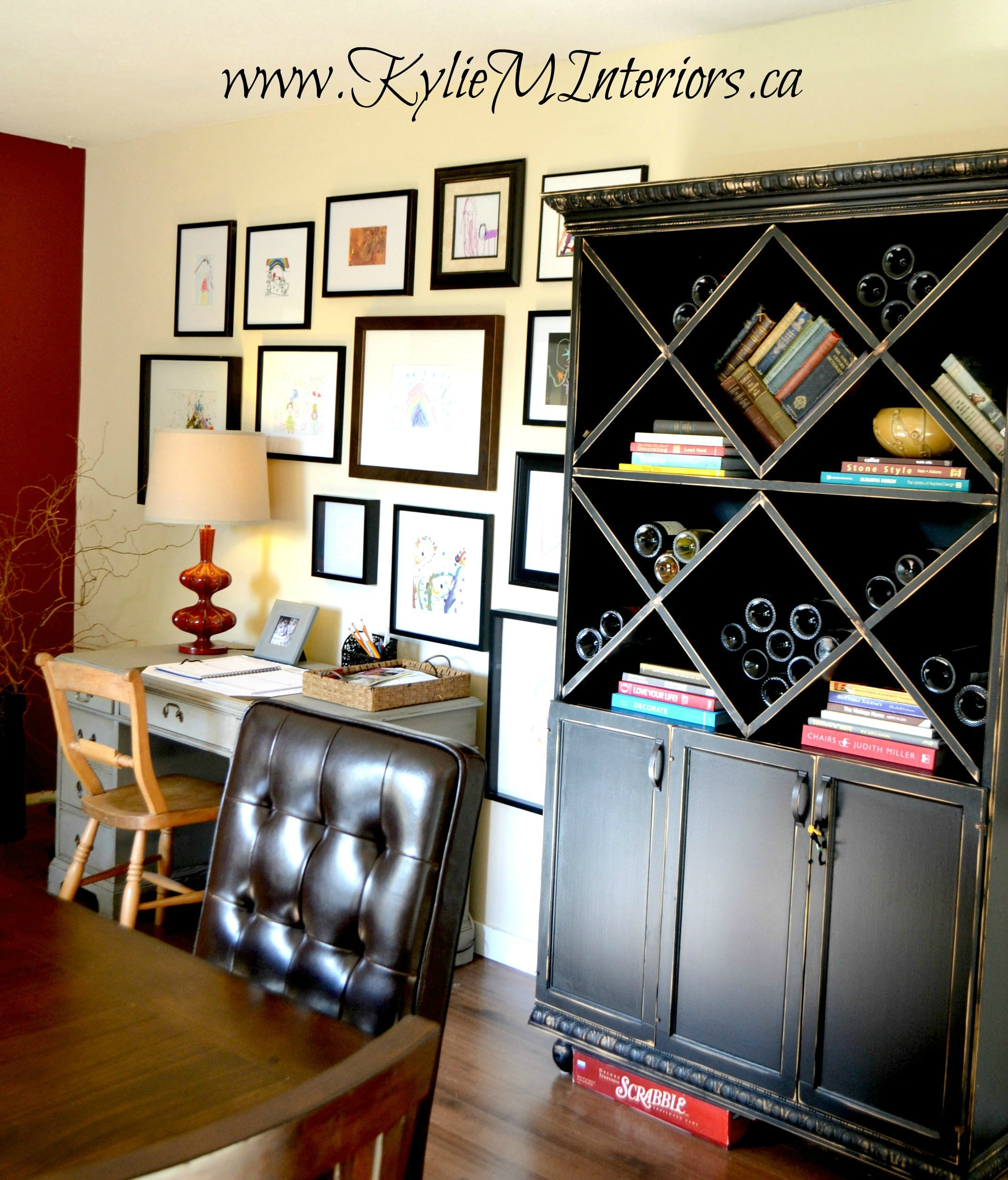black and distressed painted furniture in a dining room with ...