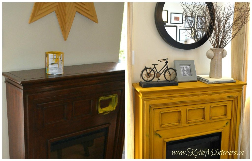 van gogh chalk paint sunflower yellow on electric fireplace. Soon to come Benjamin Moore chalk paint