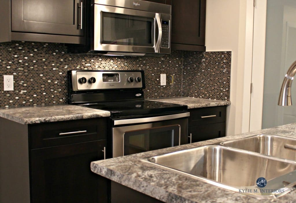 Pionite Harold Affordable Laminate Countertop. Kitchen Update Ideas.  Espresso Cabinets And Sherwin Williams Canvas