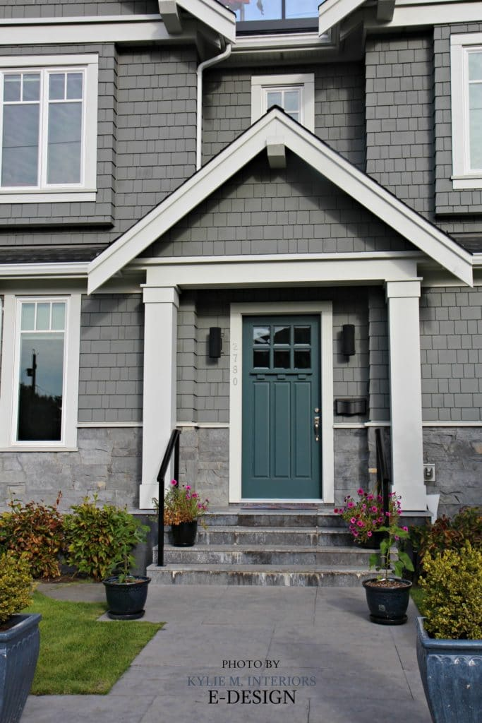 Front Door Curb Appeal, Colour Similar To Sherwin Williams Riverway.  Shingles Exterior Similar To BEnjamin Moore Chelsea Gray. Kylie M E Design  Photo