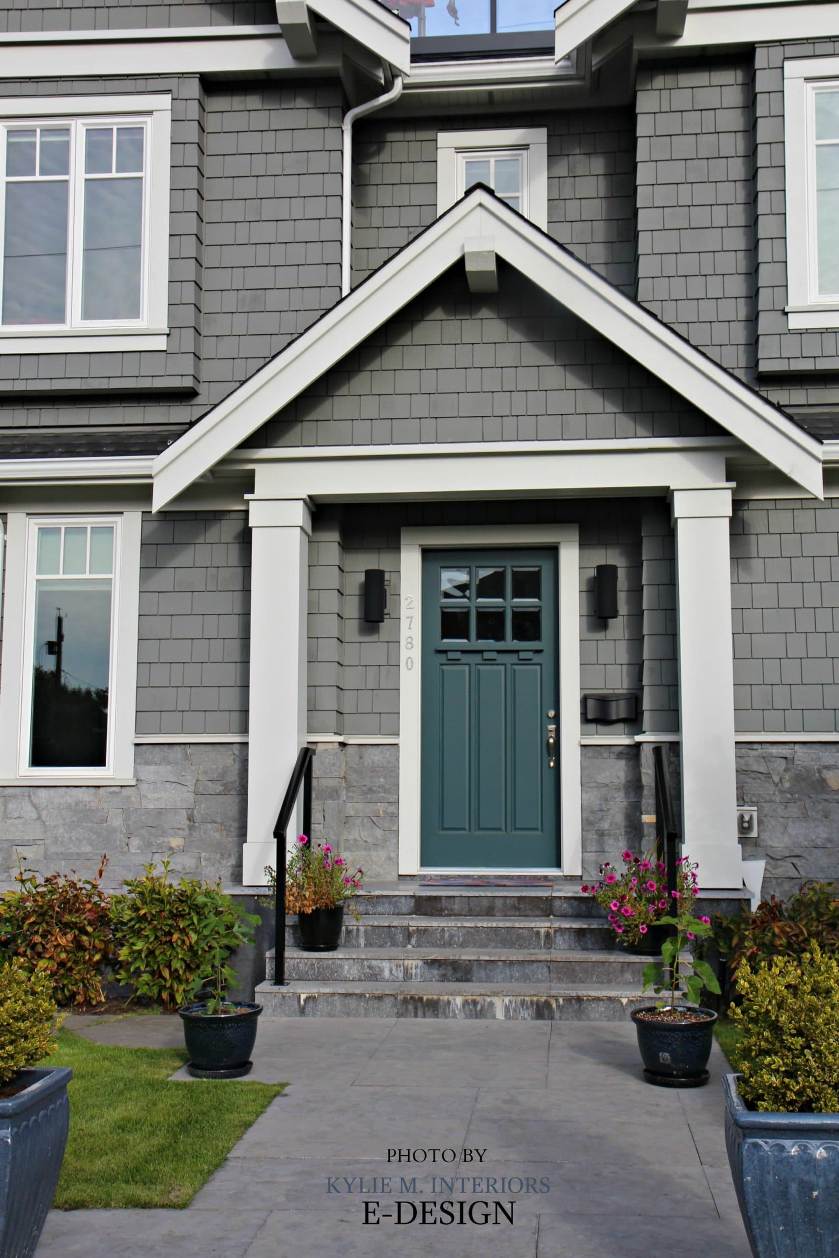 Front door curb appeal colour similar to Sherwin Williams Riverway. Shingles exterior similar to BEnjamin Moore Chelsea Gray. Kylie M E-design photo & Front door curb appeal colour similar to Sherwin Williams Riverway ...