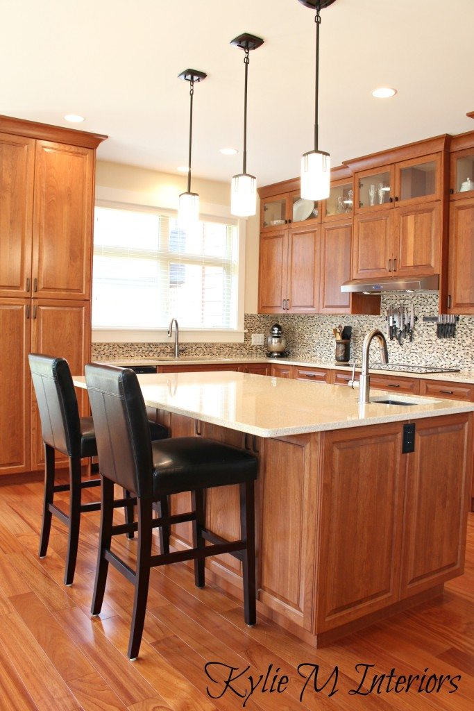 Cherry Kitchen Cabinets Cream Quartz Countertops Small