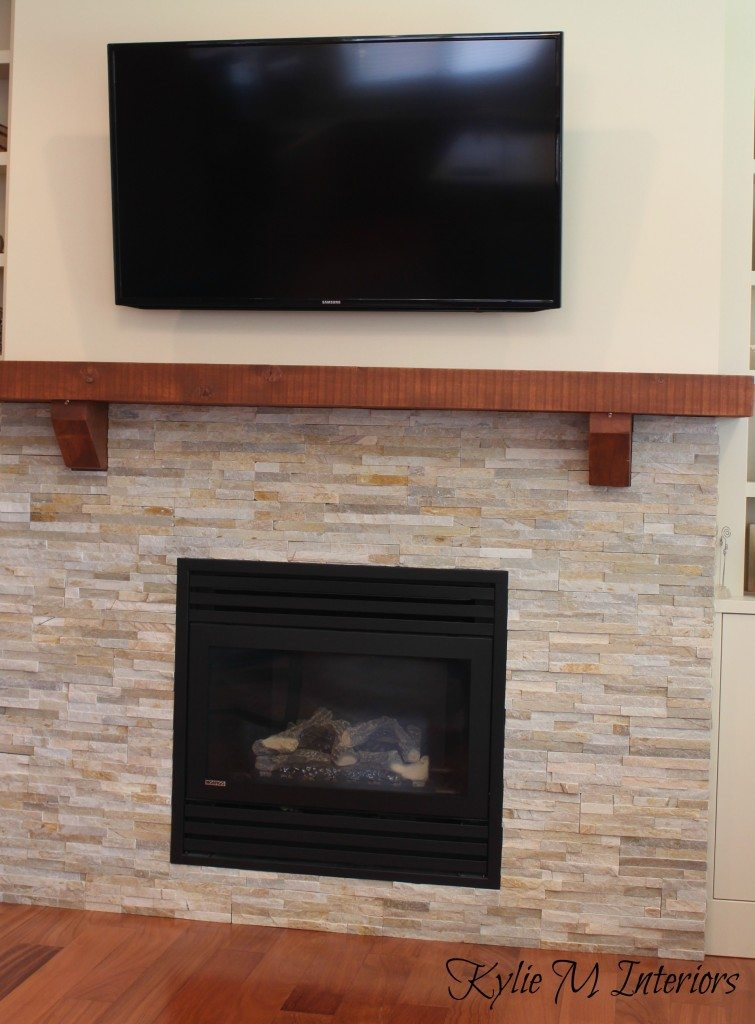 New home construction countrylane red - Stone and wood fireplace ...