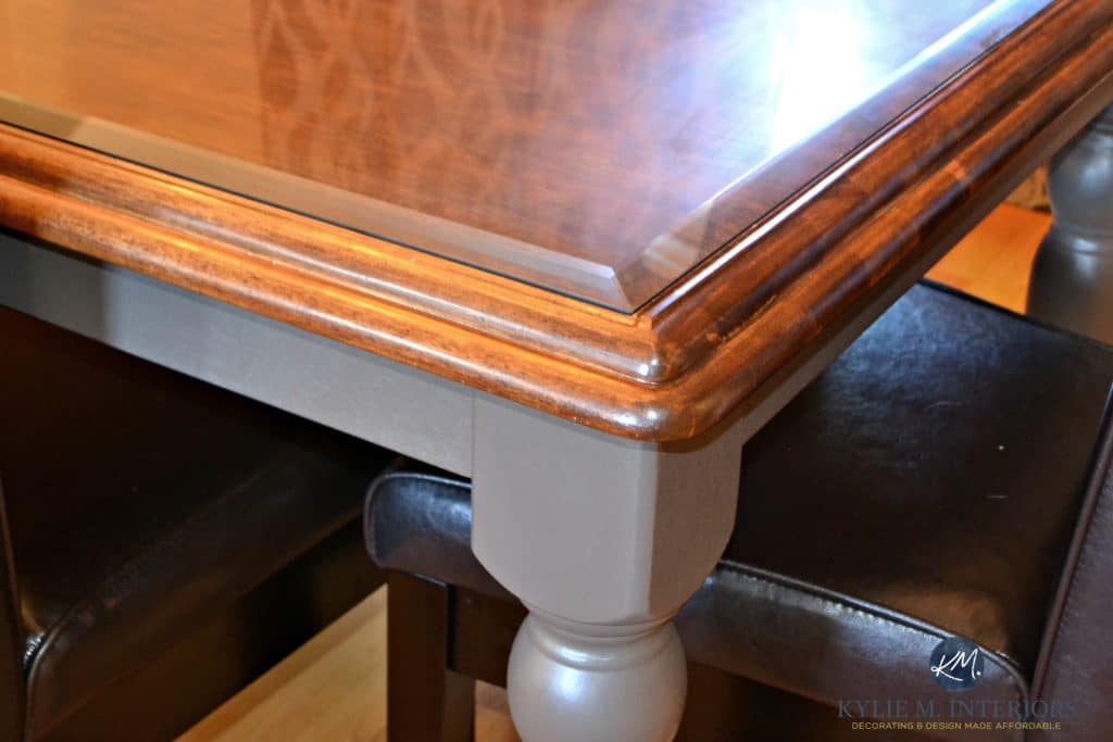 Before and after, maple or oak country style table update ideas for paint and stain