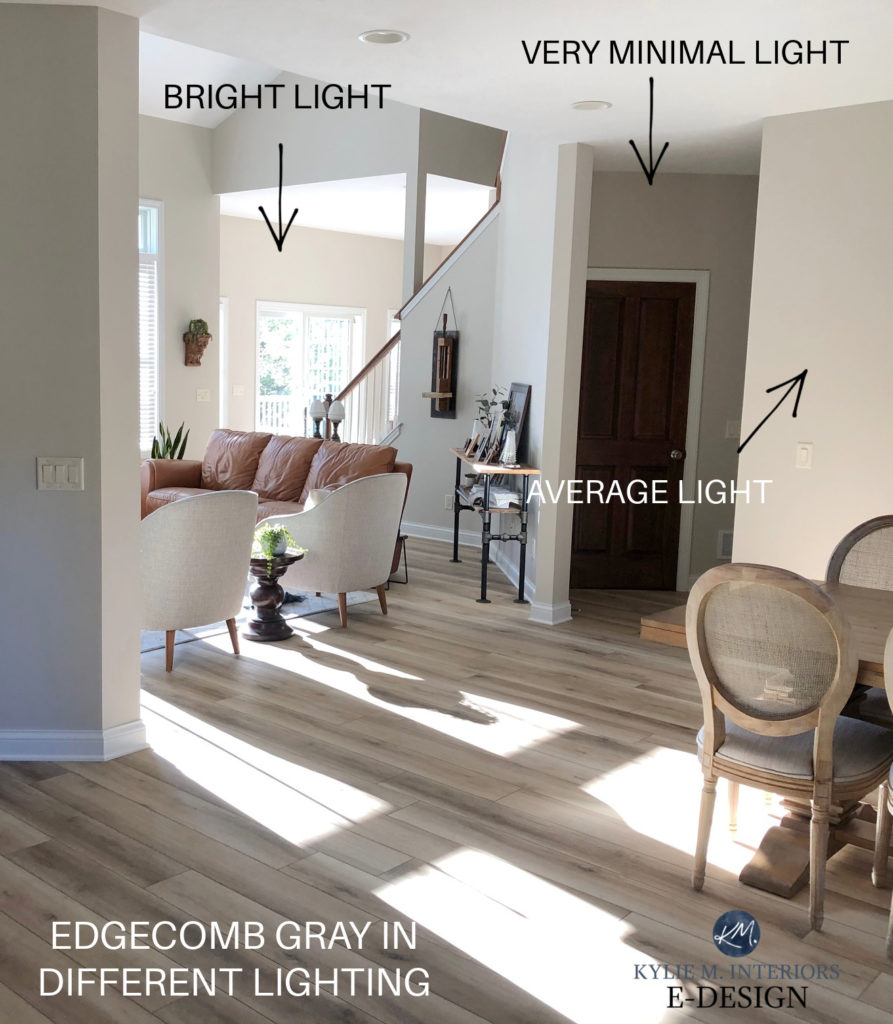 Benjamin Moore Edgecomb Gray Baby Fawn in different lighting, dark room, bright room, wood floor, vaulted ceiling. Kylie M Interiors Edesign client photo