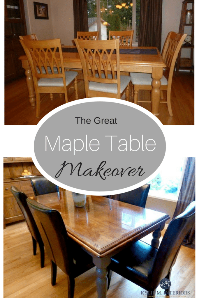 Ideas to update a maple or oak table with chairs, stain and paint by Kylie M Interiors.jpg