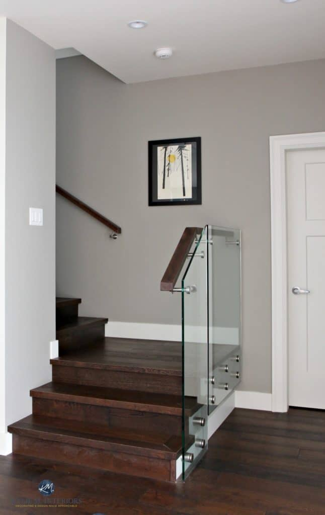 Sherwin Williams Dorian Gray In Contemporary Stairwell With Glass And Dark Wood Kylie M Interiors