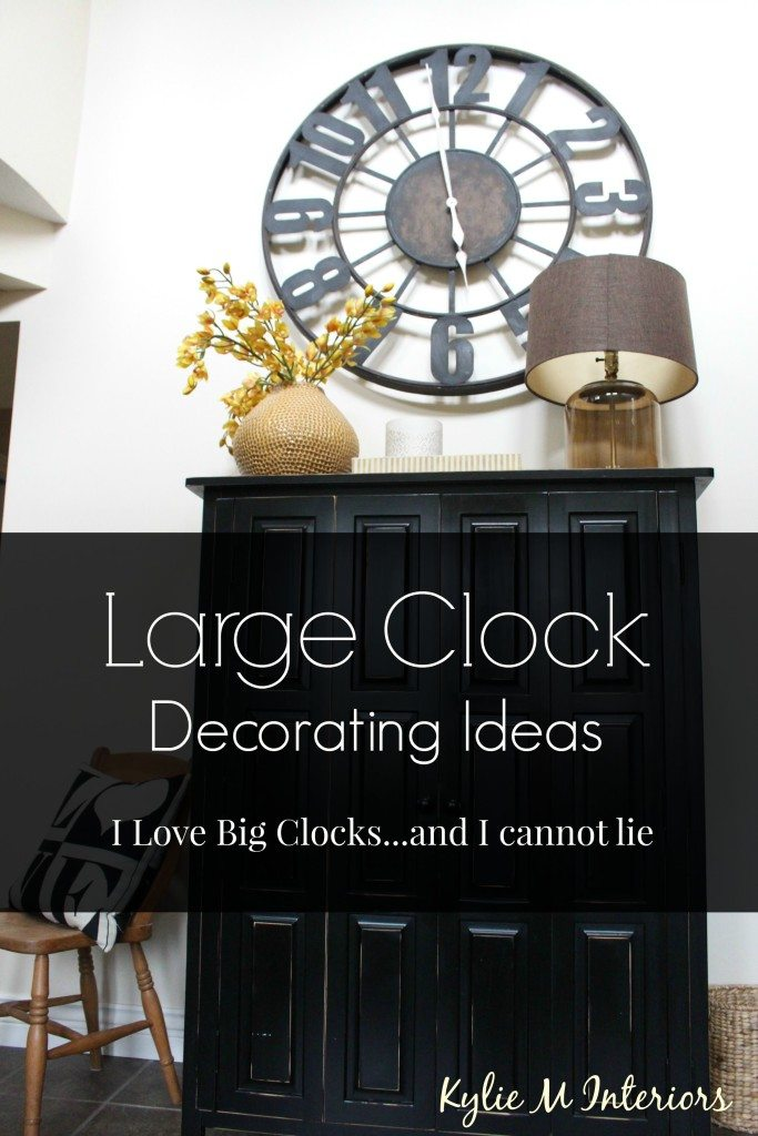 decorating ideas with large or oversized metal or wood clocks in living room, entryway, stairwell and more