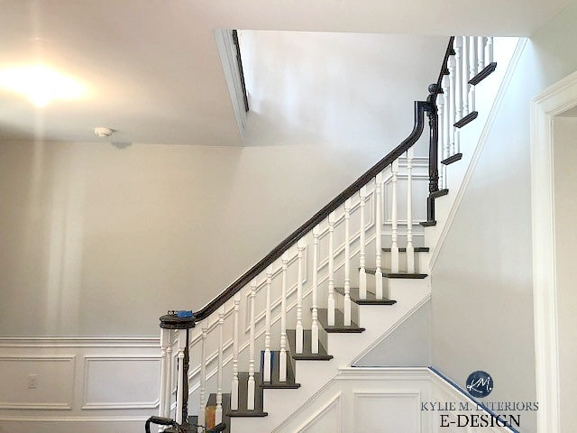 Benjamin Moore Gray Owl with wainscoting, dark wood handrailing on stairs. Kylie M Interiors Edesign, online paint color consulting