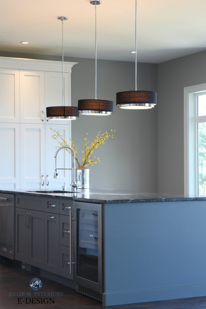 Best gray paint colours. Kitchen island painted dark gray, black quartz countertop, modern pendant lights, Dorian Gray paint colour walls. Kylie M Interiors Edesign and decor blog