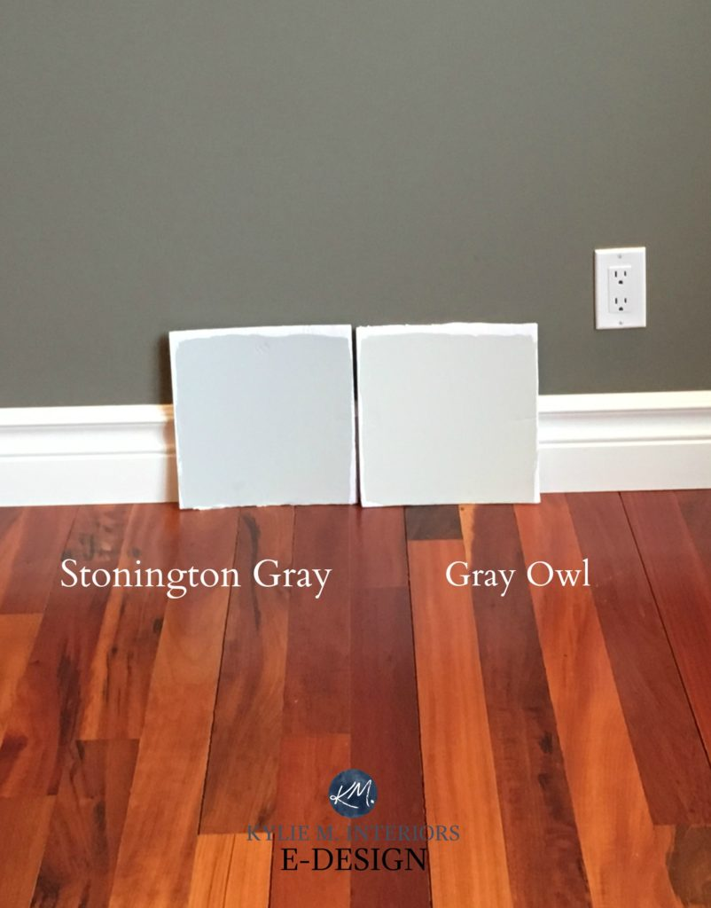 Stonington gray and Gray Owl. colour review undertones. Kylie M Interiors Edesign online