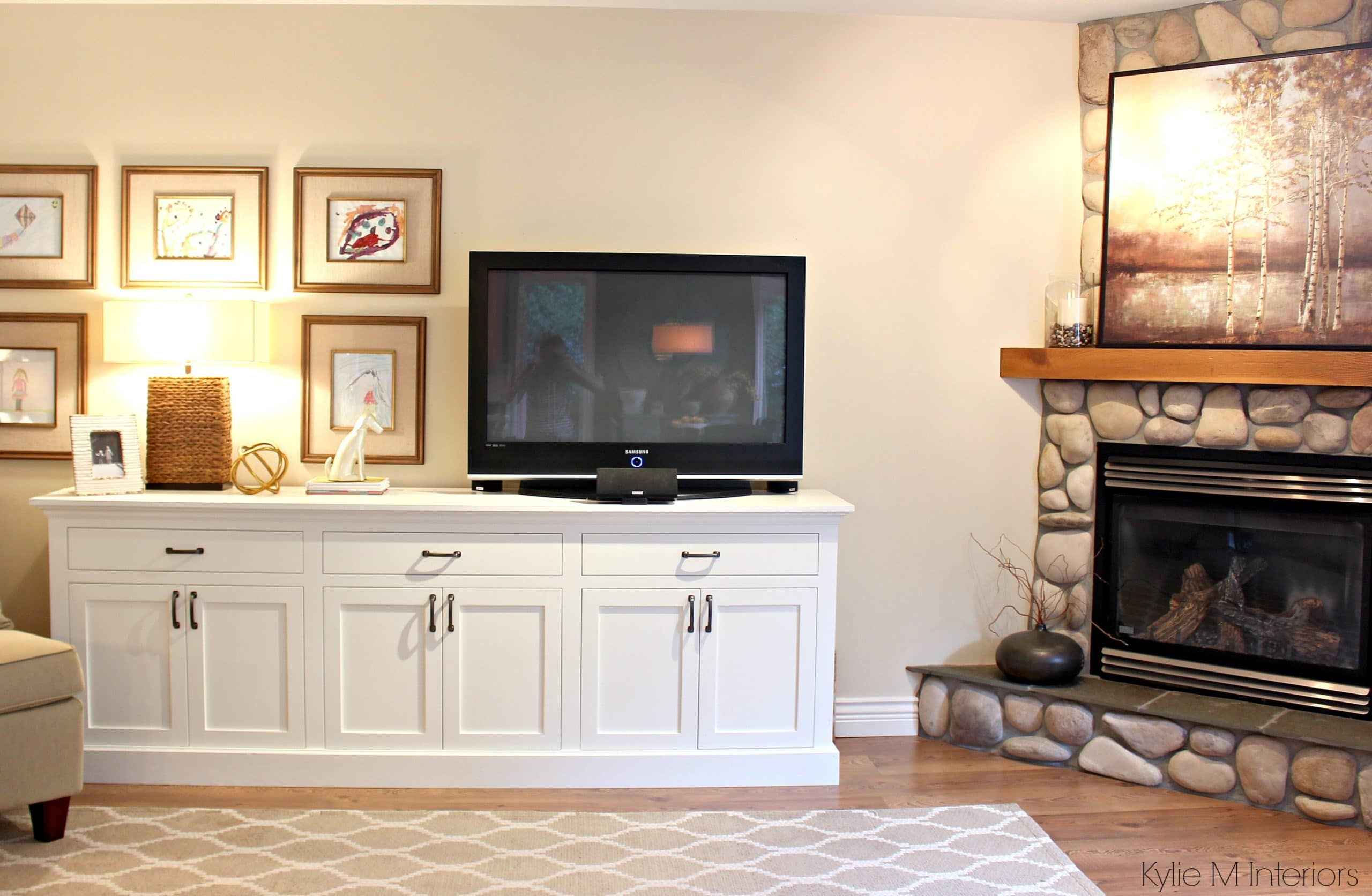 living room decor ideas with a tv, cloud white buffet, corner ...