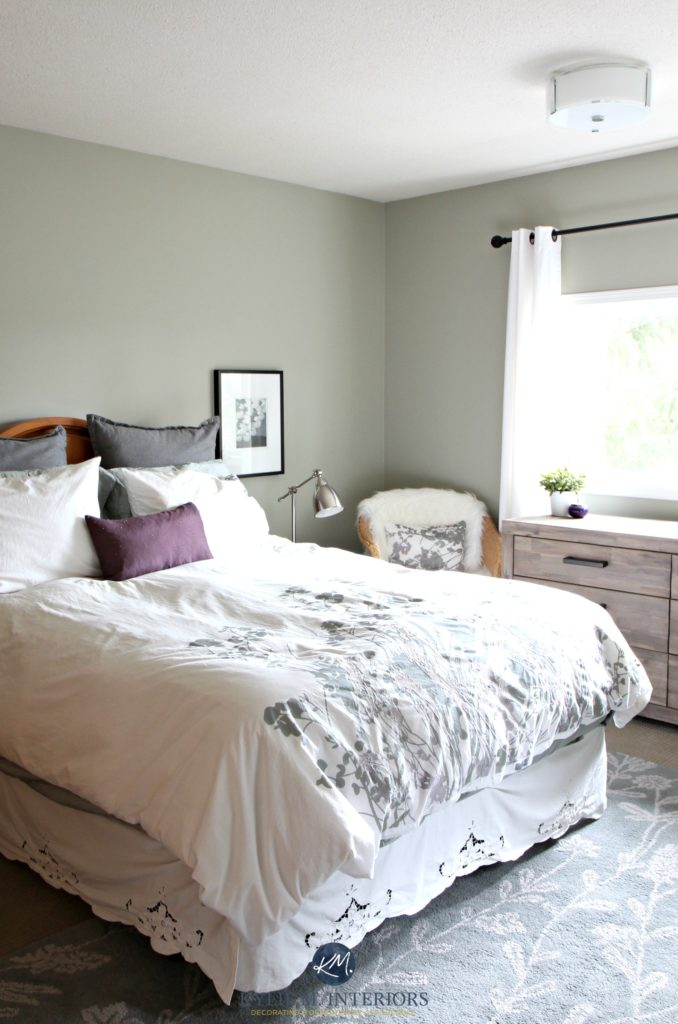Benjamin Moore Moutain Air in a country style bedroom. Kylie M Interiors E-decor and Online Colour consulting services