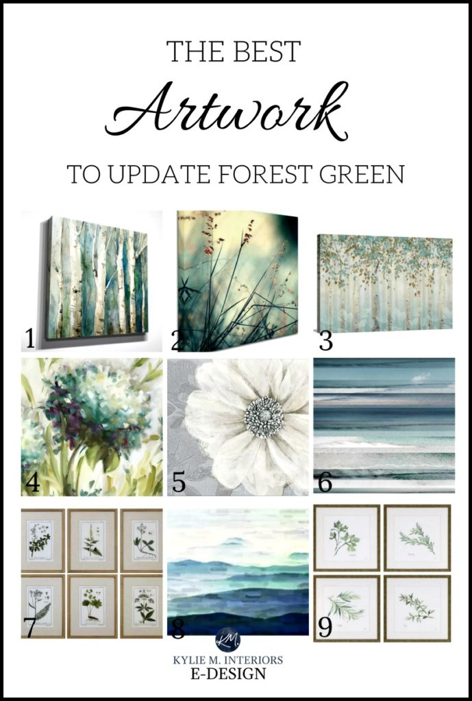 Best artwork, decor to update forest green home, furniture, sofa or carpet. Kylie M E-design, online paint color expert