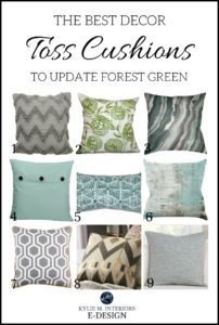 Best decor ideas to update forest green carpet, sofa, furniture. Toss cushions. Kylie M E-design, online virtual decorating
