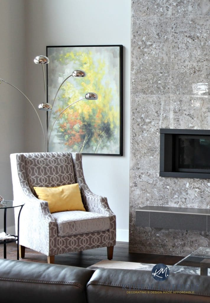 Sherwin Williams Repose Gray with LRV. Living room design by Kylie M Interiors